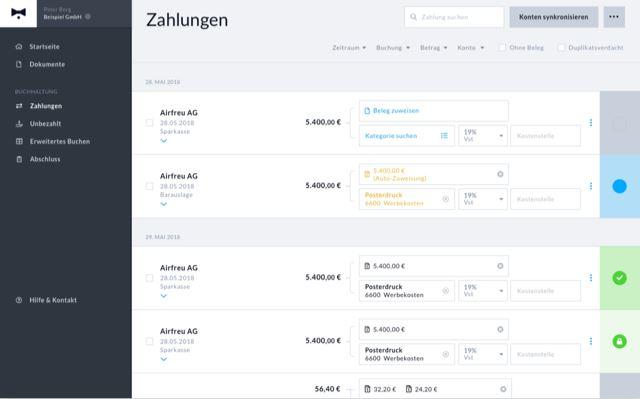 Beleg- und Zahlungsmanagement der Online Buchhaltung