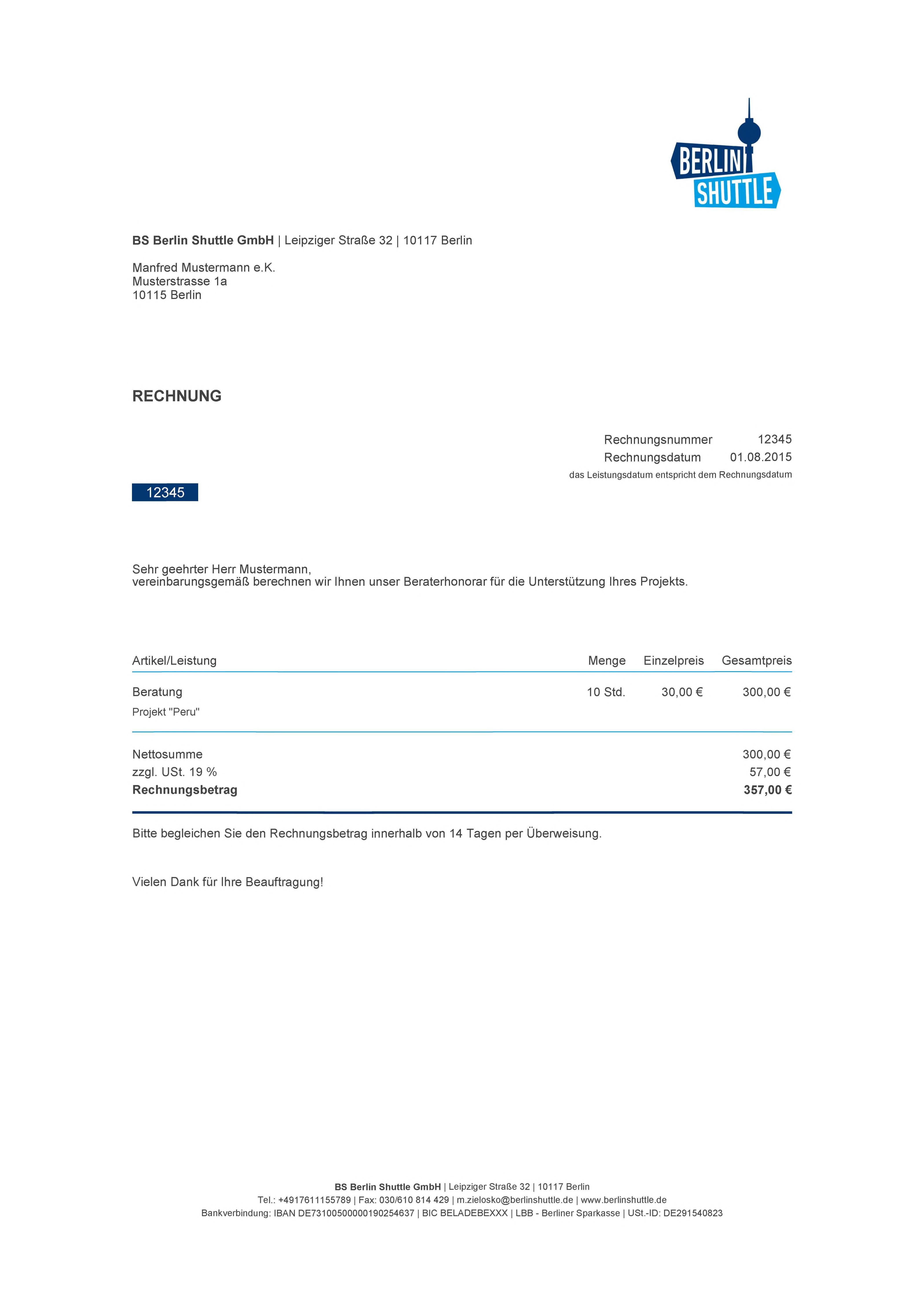 Pflichtangaben auf Rechnungen