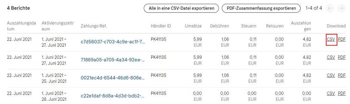 Klarna Datei exportieren 2