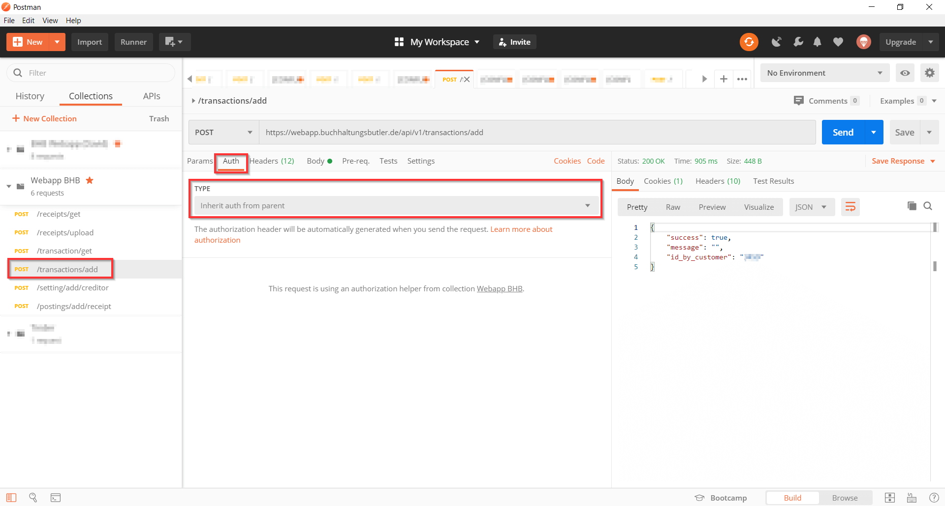 Postman testing Api Requests inherit Auth from Screenshot 3