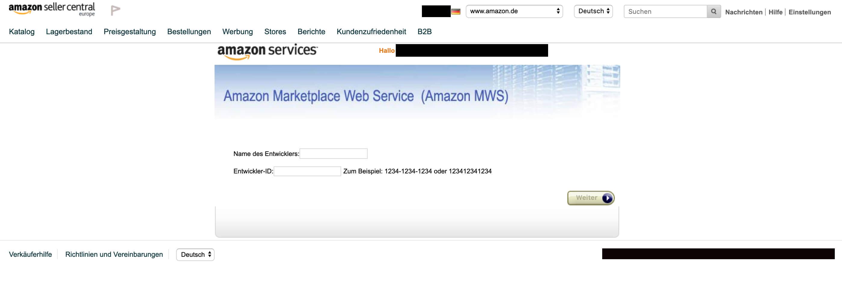 Amazon Entwickler autorisieren