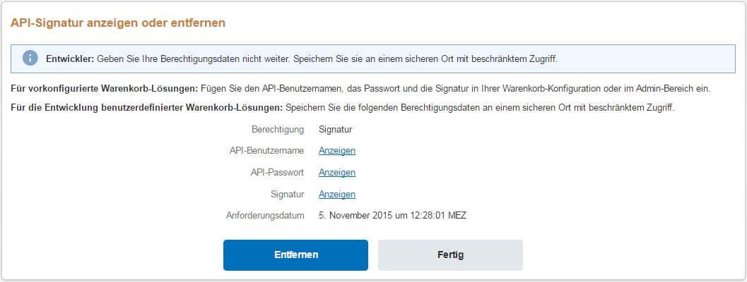 PayPal API Signatur anzeigen