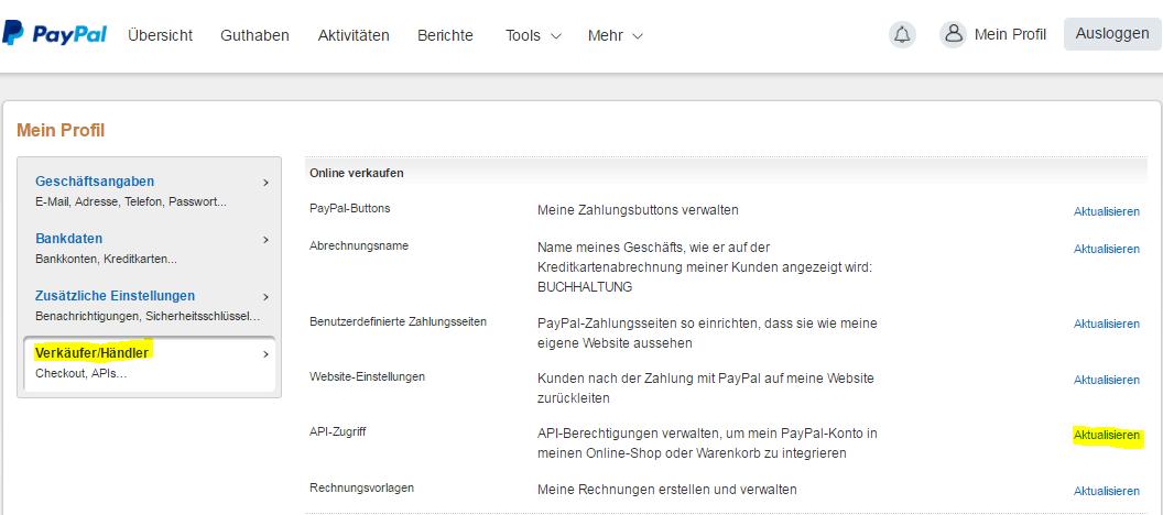 PayPal API Zugriff aktualisieren
