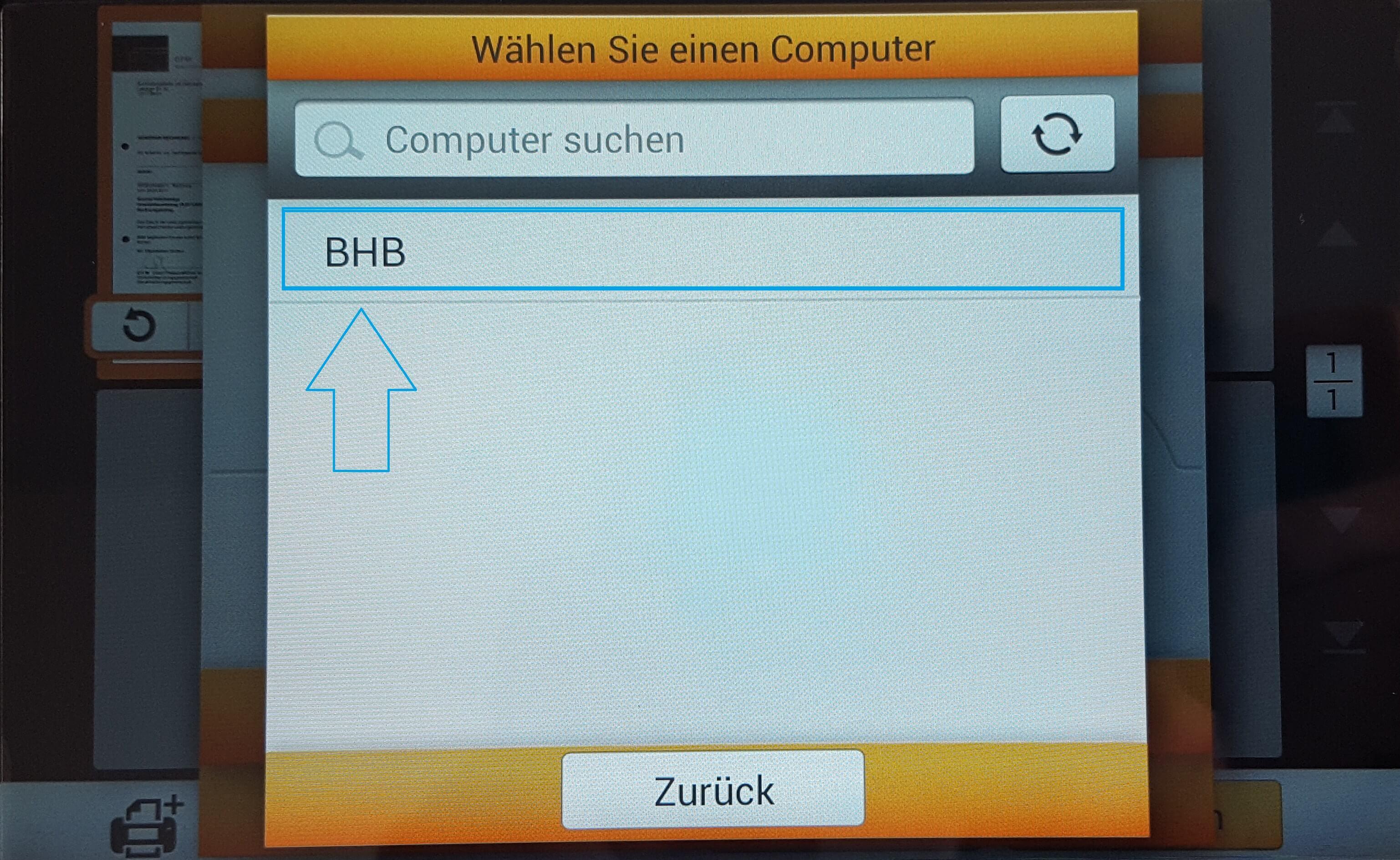 Auswahl des Computers