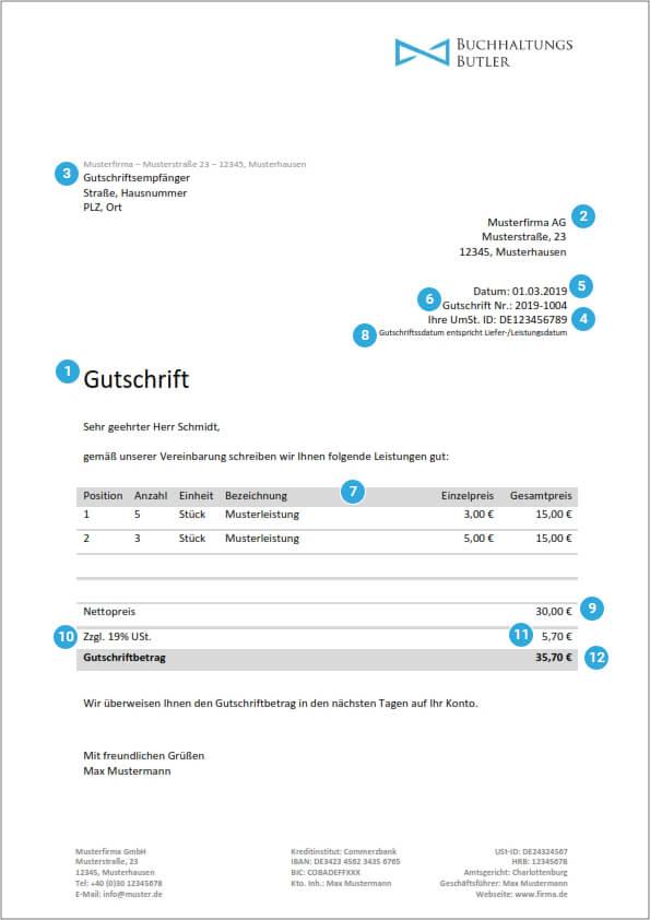 Kostenlose Gutschriftsvorlage zum Download
