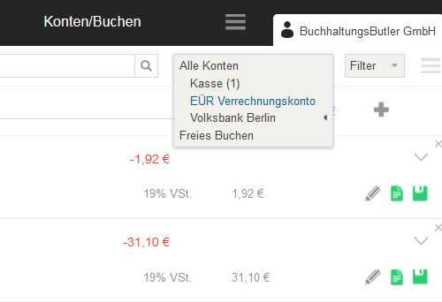 Kasse und EÜR-Verrechnungskonto
