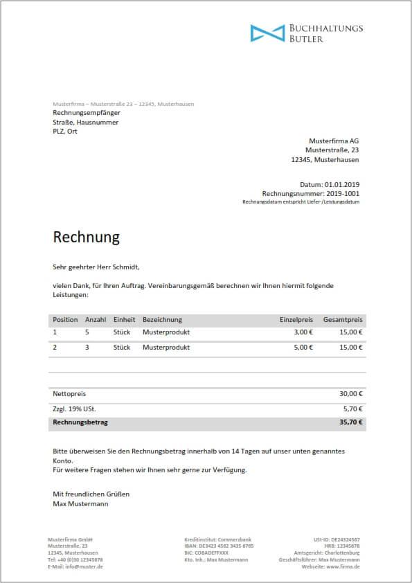 Kostenlose Rechnungsvorlage Word